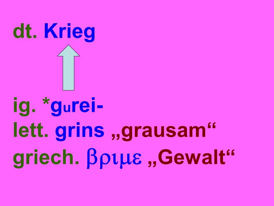"dt. Krieg ig. *g u rei- lett. grins ""grausam griech.  ""Gewalt"