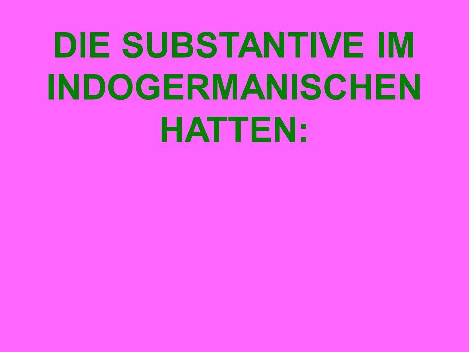DIE SUBSTANTIVE IM INDOGERMANISCHEN HATTEN: