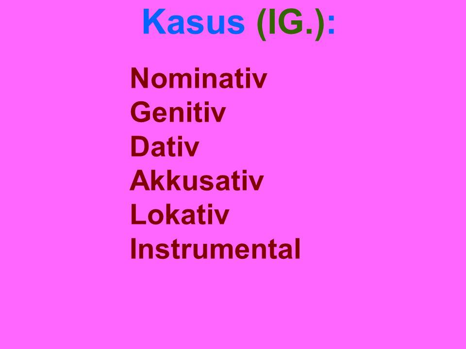 Kasus (IG.): Nominativ Genitiv Dativ Akkusativ Lokativ Instrumental
