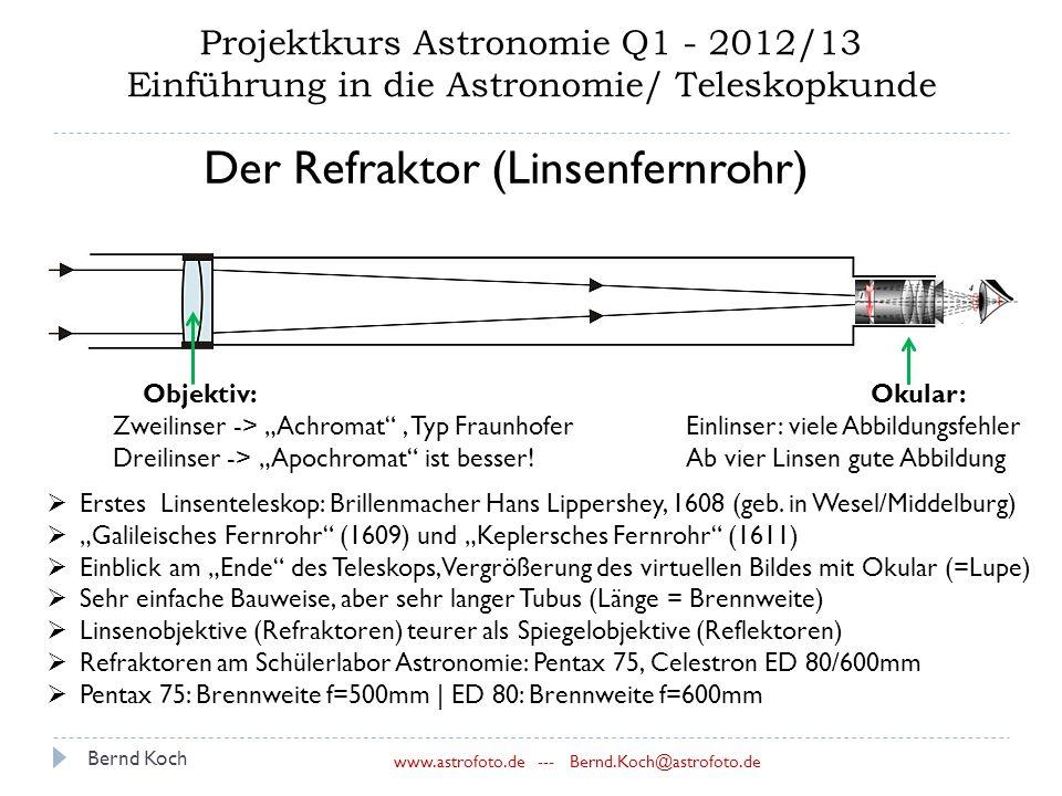 Bernd Koch www.astrofoto.de --- Bernd.Koch@astrofoto.de Projektkurs Astronomie Q1 - 2012/13 Einführung in die Astronomie/ Teleskopkunde Der Refraktor (Linsenfernrohr)  Erstes Linsenteleskop: Brillenmacher Hans Lippershey, 1608 (geb.