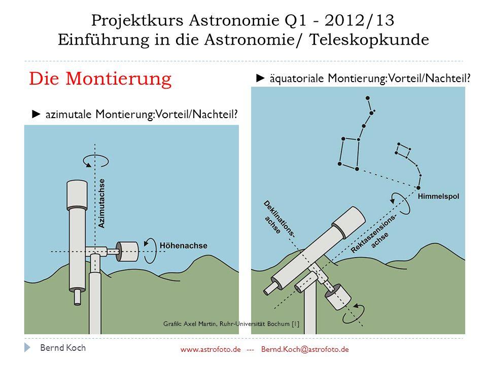 Bernd Koch www.astrofoto.de --- Bernd.Koch@astrofoto.de Projektkurs Astronomie Q1 - 2012/13 Einführung in die Astronomie/ Teleskopkunde ► azimutale Montierung: Vorteil/Nachteil.