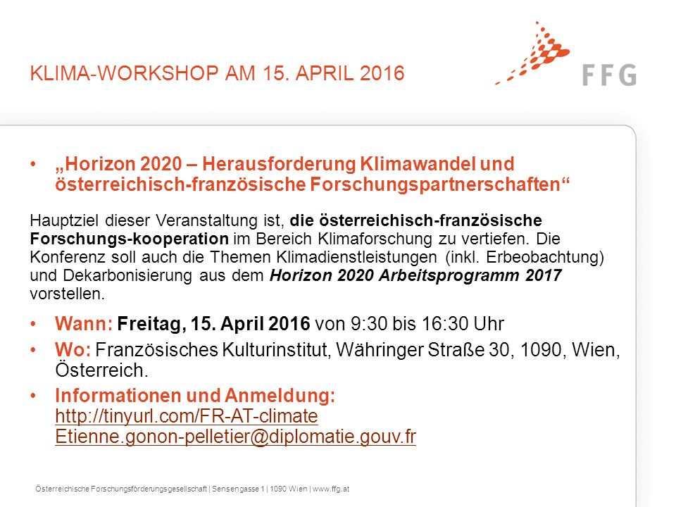 KLIMA-WORKSHOP AM 15.