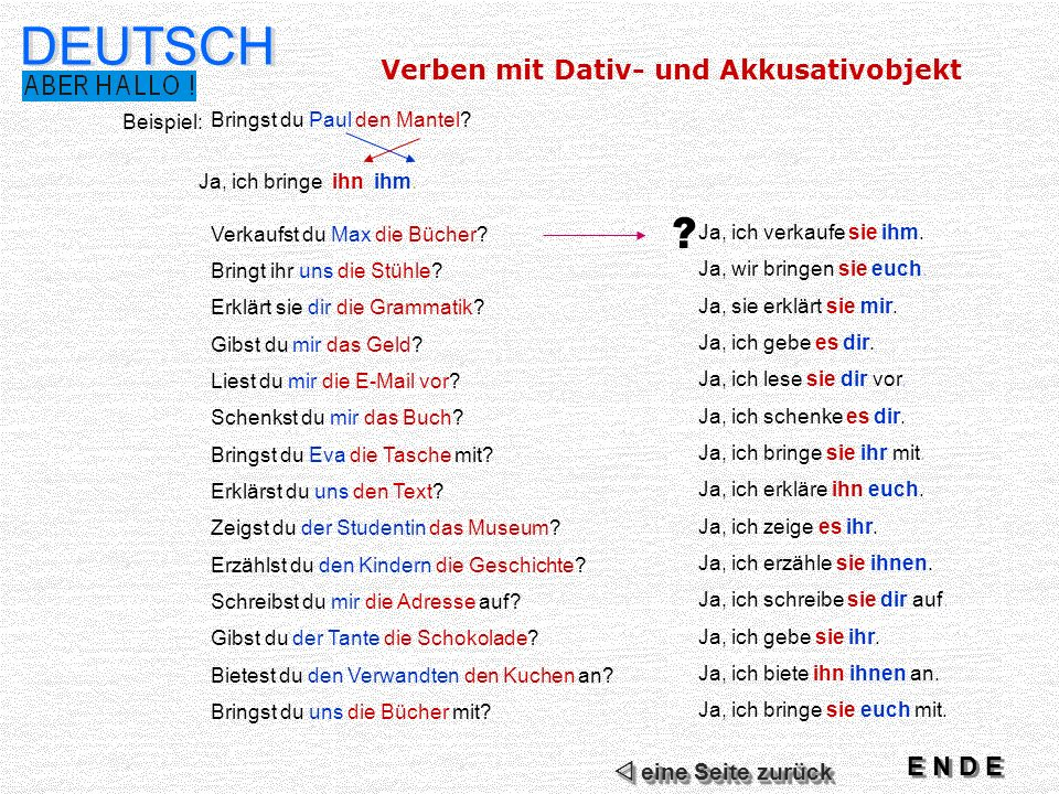 Verben mit Dativ- und Akkusativobjekt DEUTSCH Beispiel: Bringst du Paul den Mantel.