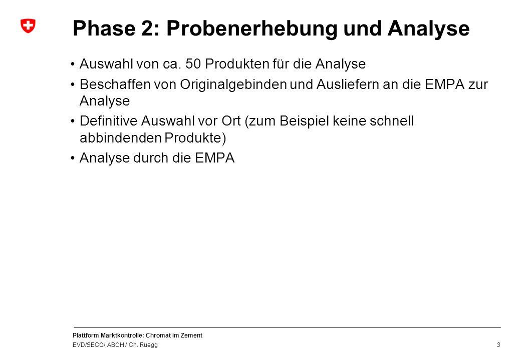 Plattform Marktkontrolle: Chromat im Zement EVD/SECO/ ABCH / Ch. Rüegg Phase 2: Probenerhebung und Analyse 3 Auswahl von ca. 50 Produkten für die Anal