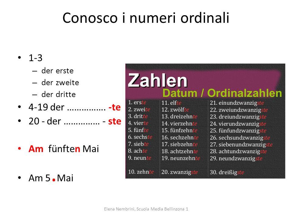 Conosco i numeri ordinali 1-3 – der erste – der zweite – der dritte 4-19 der ……………. -te 20 -der …………… - ste Am fünften Mai Am 5. Mai Elena Nembrini, S
