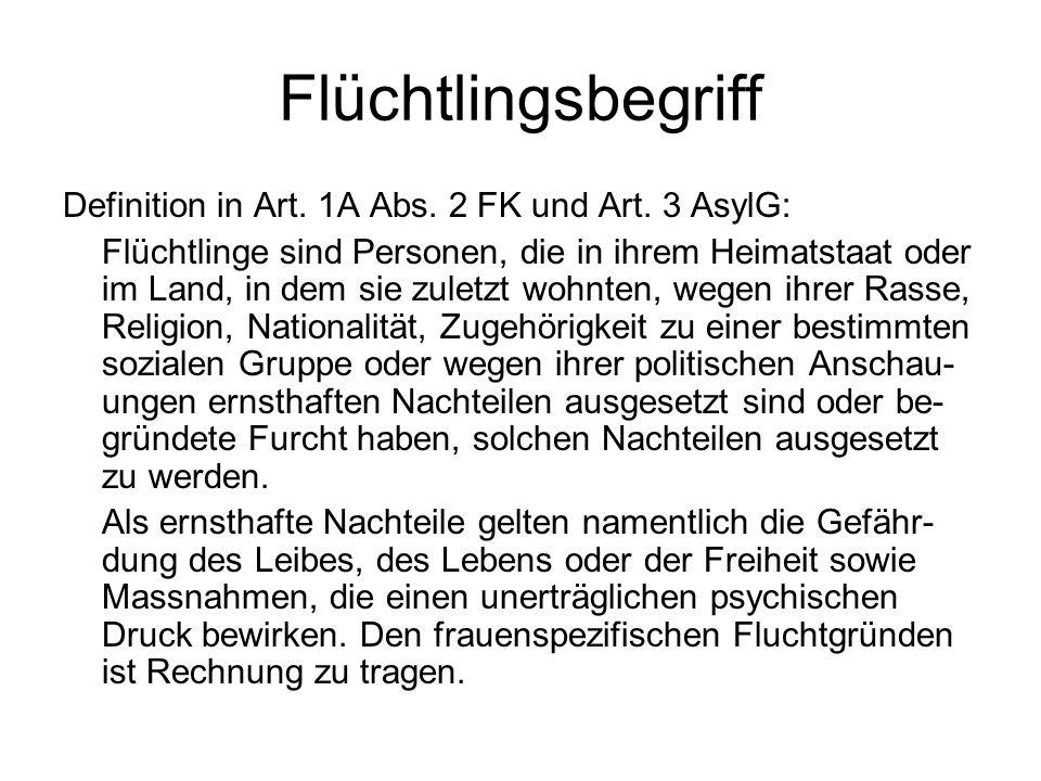 Flüchtlingsbegriff Definition in Art. 1A Abs. 2 FK und Art.