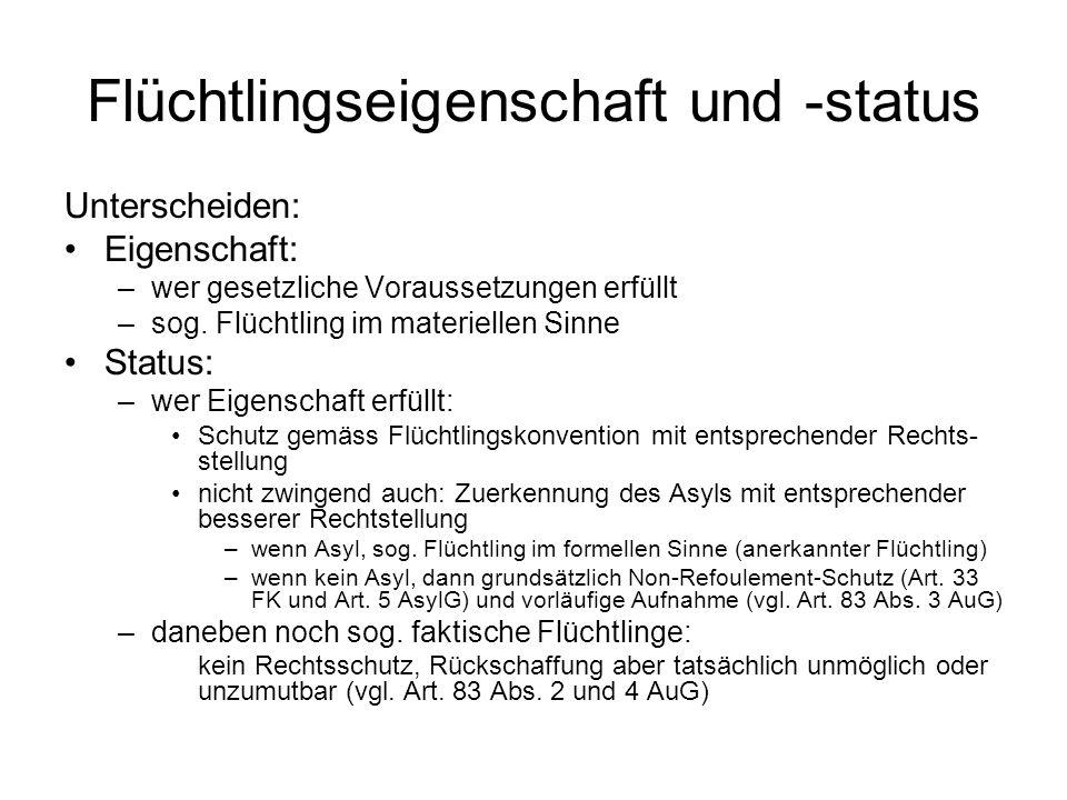 Flüchtlingseigenschaft und -status Unterscheiden: Eigenschaft: –wer gesetzliche Voraussetzungen erfüllt –sog.
