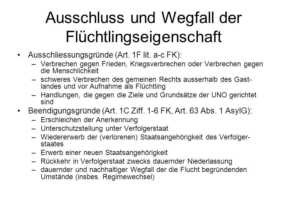 Ausschluss und Wegfall der Flüchtlingseigenschaft Ausschliessungsgründe (Art.
