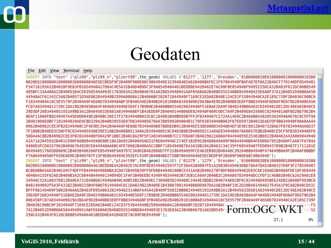 Metaspatial.net VoGIS 2010, FeldkirchArnulf Christl15 / 44 Geodaten Form:OGC WKT