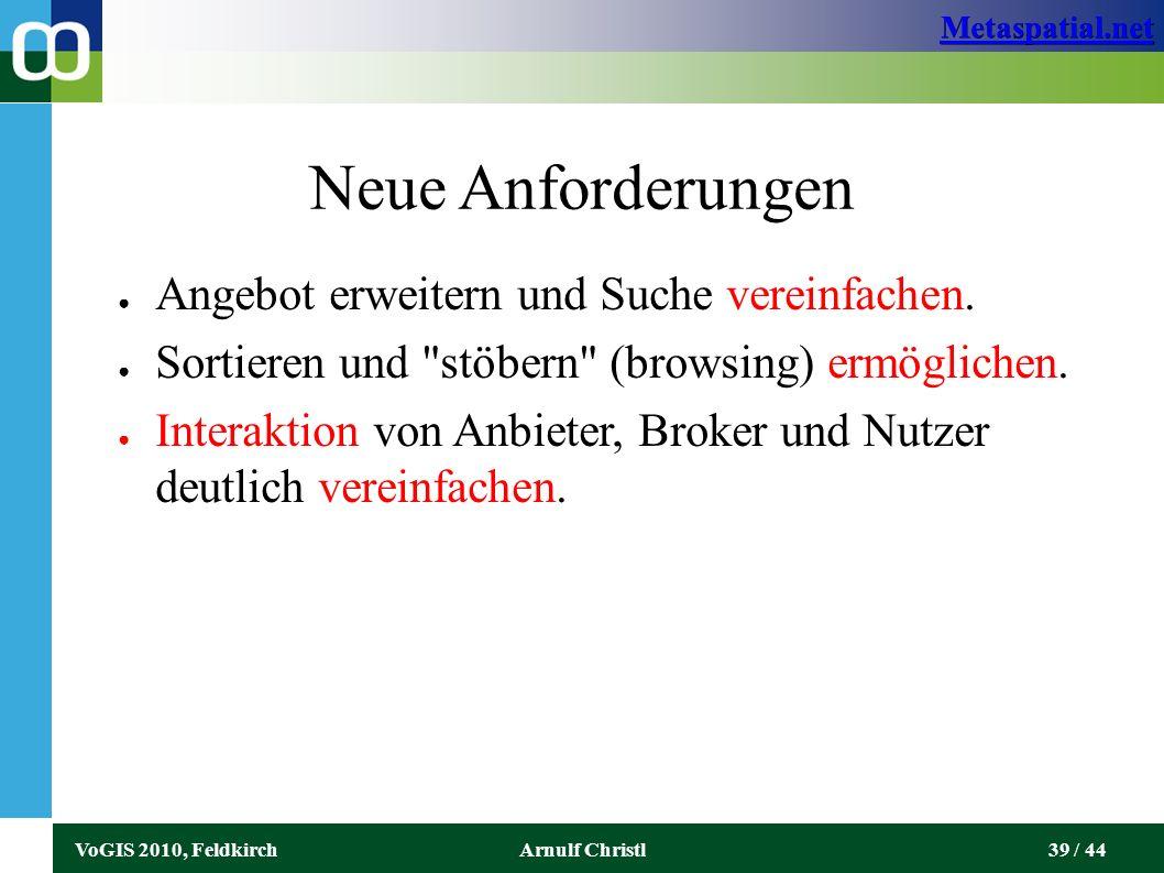 Metaspatial.net VoGIS 2010, FeldkirchArnulf Christl39 / 44 Neue Anforderungen ● Angebot erweitern und Suche vereinfachen.