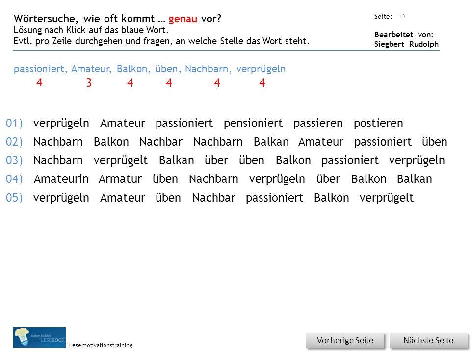 Übungsart: Seite: Bearbeitet von: Siegbert Rudolph Lesemotivationstraining Wörtersuche, wie oft kommt … genau vor.