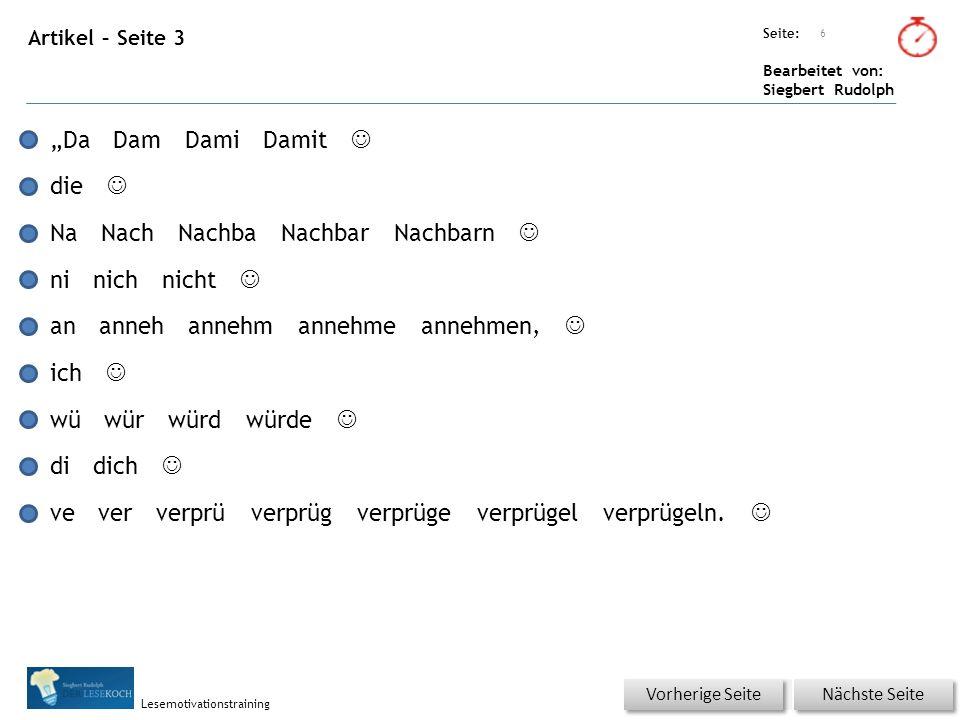 Übungsart: Seite: Bearbeitet von: Siegbert Rudolph Lesemotivationstraining Artikel – Silbenkennung Für jedes Wort klicken.