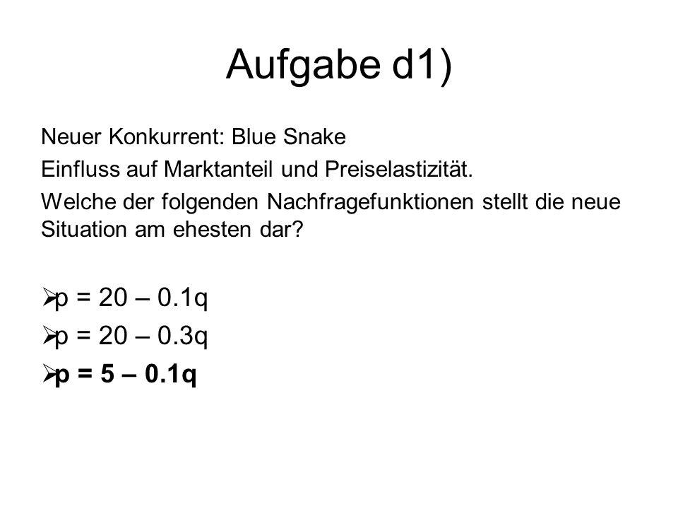 Aufgabe d1) Neuer Konkurrent: Blue Snake Einfluss auf Marktanteil und Preiselastizität. Welche der folgenden Nachfragefunktionen stellt die neue Situa