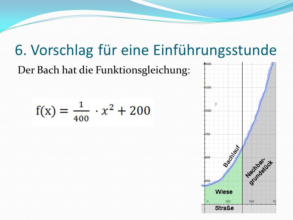 6. Vorschlag für eine Einführungsstunde Der Bach hat die Funktionsgleichung: