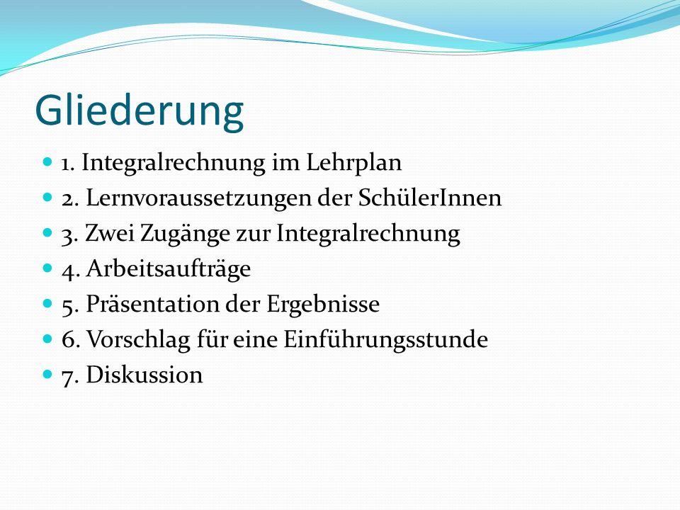 Gliederung 1. Integralrechnung im Lehrplan 2. Lernvoraussetzungen der SchülerInnen 3.