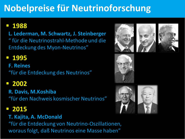 Nobelpreise für Neutrinoforschung  1988 L. Lederman, M.