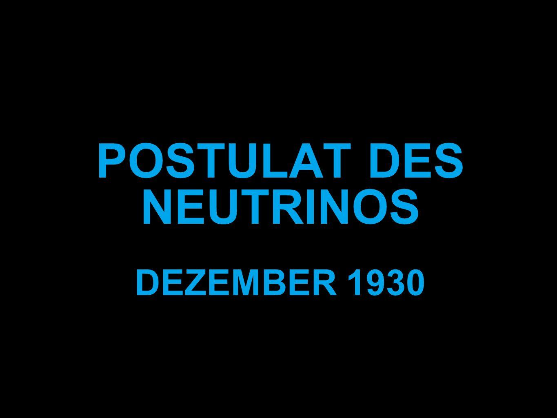 POSTULAT DES NEUTRINOS DEZEMBER 1930