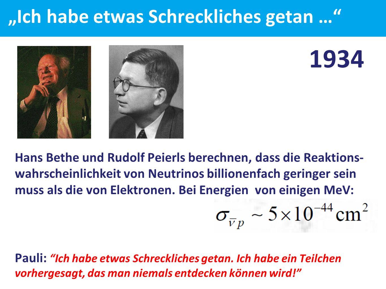 """""""Ich habe etwas Schreckliches getan … 1934 Hans Bethe und Rudolf Peierls berechnen, dass die Reaktions- wahrscheinlichkeit von Neutrinos billionenfach geringer sein muss als die von Elektronen."""