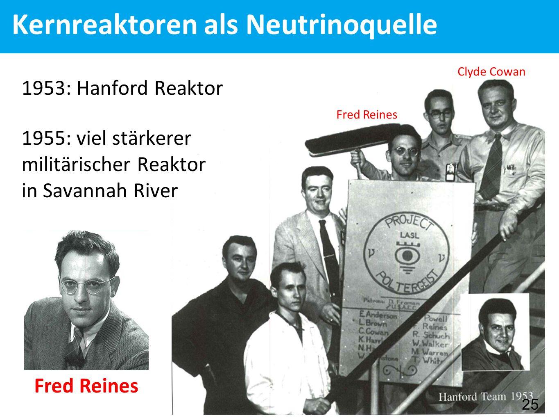 Kernreaktoren als Neutrinoquelle Fred Reines Clyde Cowan 25 1953: Hanford Reaktor 1955: viel stärkerer militärischer Reaktor in Savannah River Fred Reines