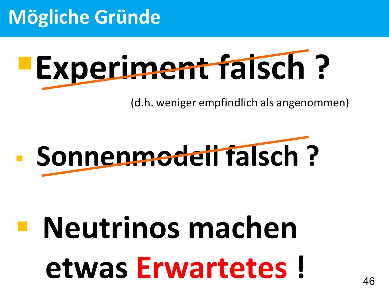 Mögliche Gründe  Experiment falsch . (d.h.
