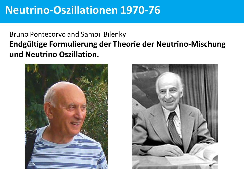 Bruno Pontecorvo and Samoil Bilenky Endgültige Formulierung der Theorie der Neutrino-Mischung und Neutrino Oszillation.
