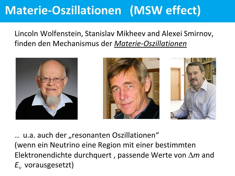 Materie-Oszillationen (MSW effect) Lincoln Wolfenstein, Stanislav Mikheev and Alexei Smirnov, finden den Mechanismus der Materie-Oszillationen … u.a.