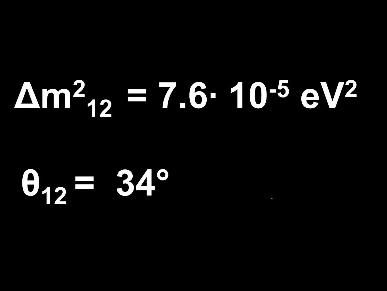 Δm 2 12 = 7.6· 10 -5 eV 2 θ 12 = 34°