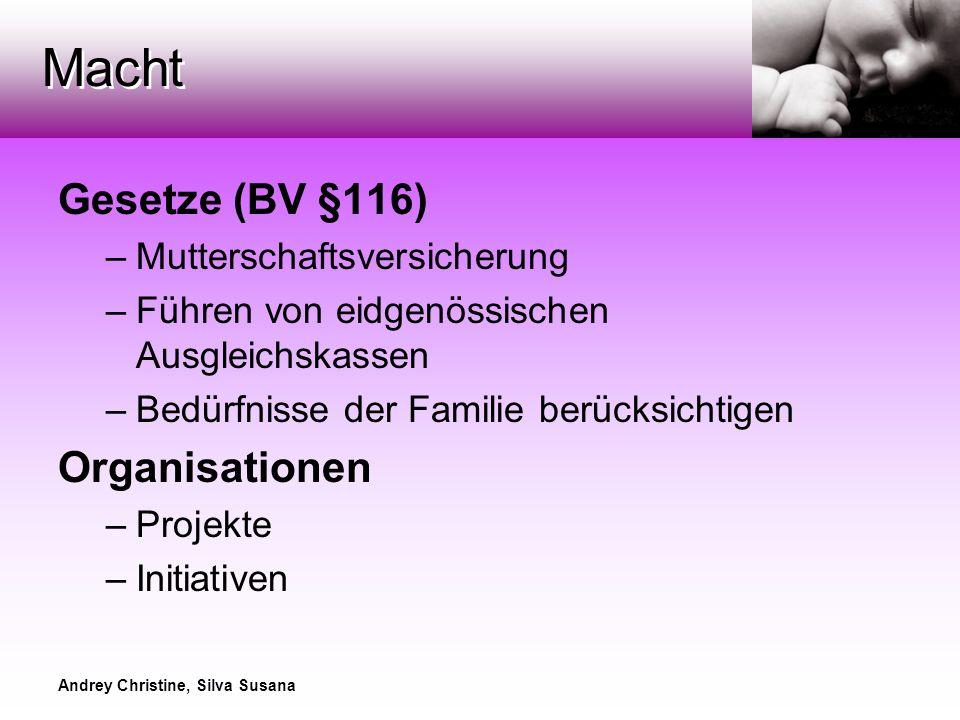Andrey Christine, Silva Susana Macht Gesetze (BV §116) –Mutterschaftsversicherung –Führen von eidgenössischen Ausgleichskassen –Bedürfnisse der Familie berücksichtigen Organisationen –Projekte –Initiativen