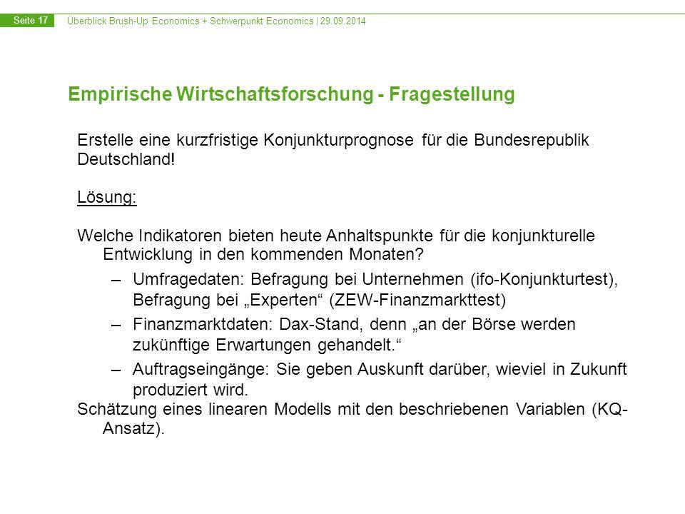 Überblick Brush-Up Economics + Schwerpunkt Economics | 29.09.2014 Seite 17 Empirische Wirtschaftsforschung - Fragestellung Erstelle eine kurzfristige Konjunkturprognose für die Bundesrepublik Deutschland.