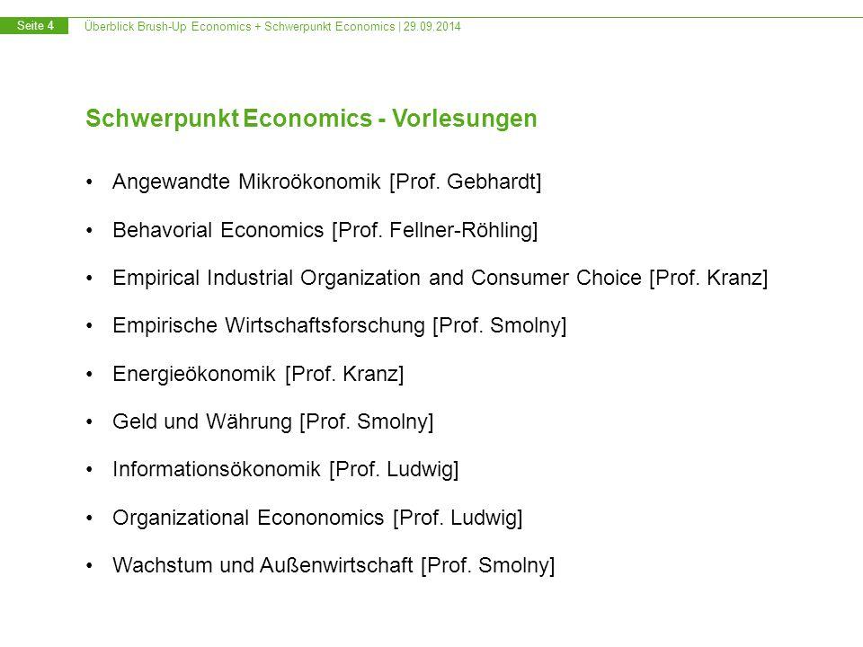 Überblick Brush-Up Economics + Schwerpunkt Economics | 29.09.2014 Seite 4 Schwerpunkt Economics - Vorlesungen Angewandte Mikroökonomik [Prof. Gebhardt