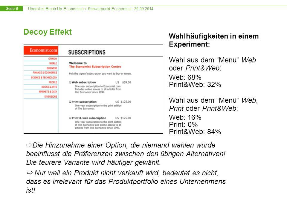 Überblick Brush-Up Economics + Schwerpunkt Economics   29.09.2014 Seite 9 Informationsökonomik Entscheidungen unter Unsicherheit Risikopräferenzen Wie messen und darstellen.
