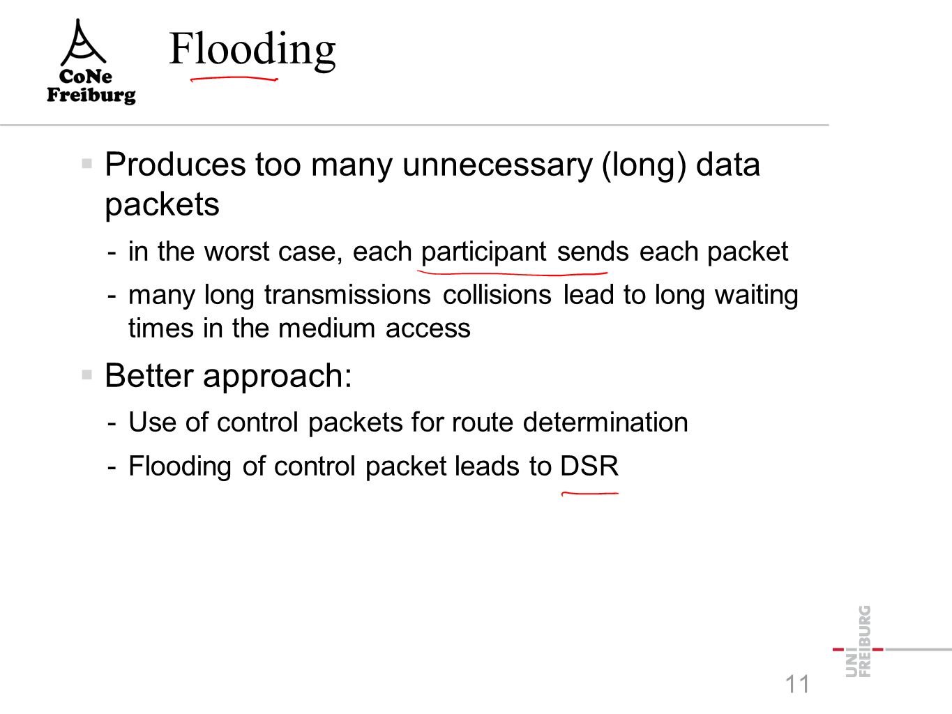 Flooding  Produces too many unnecessary (long) data packets -in the worst case, each participant sends each packet -many long transmissions collisions lead to long waiting times in the medium access  Better approach: -Use of control packets for route determination -Flooding of control packet leads to DSR 11