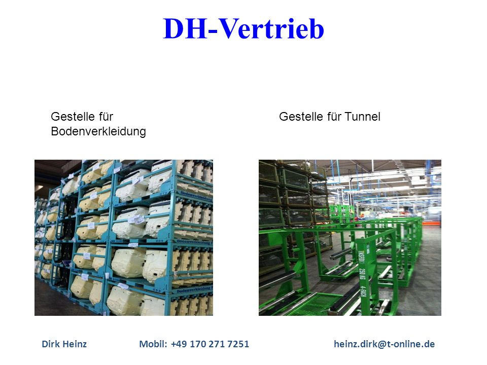Dirk HeinzMobil: +49 170 271 7251heinz.dirk@t-online.de Gestelle für Bodenverkleidung Gestelle für Tunnel DH-Vertrieb
