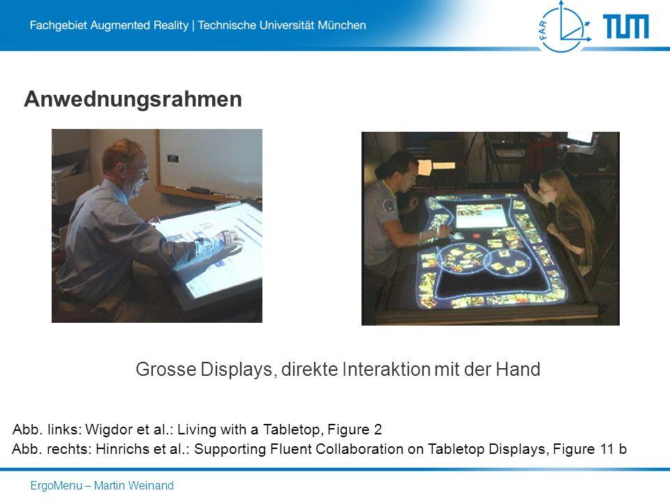 Anwednungsrahmen Grosse Displays, direkte Interaktion mit der Hand Abb.