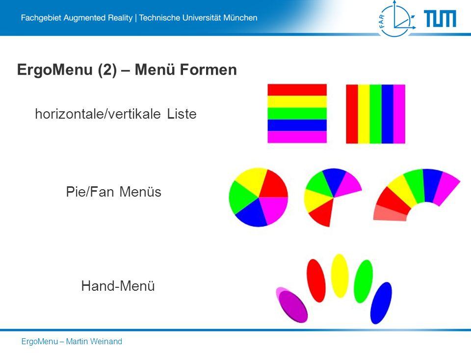 ErgoMenu (2) – Menü Formen horizontale/vertikale Liste Pie/Fan Menüs Hand-Menü ErgoMenu – Martin Weinand