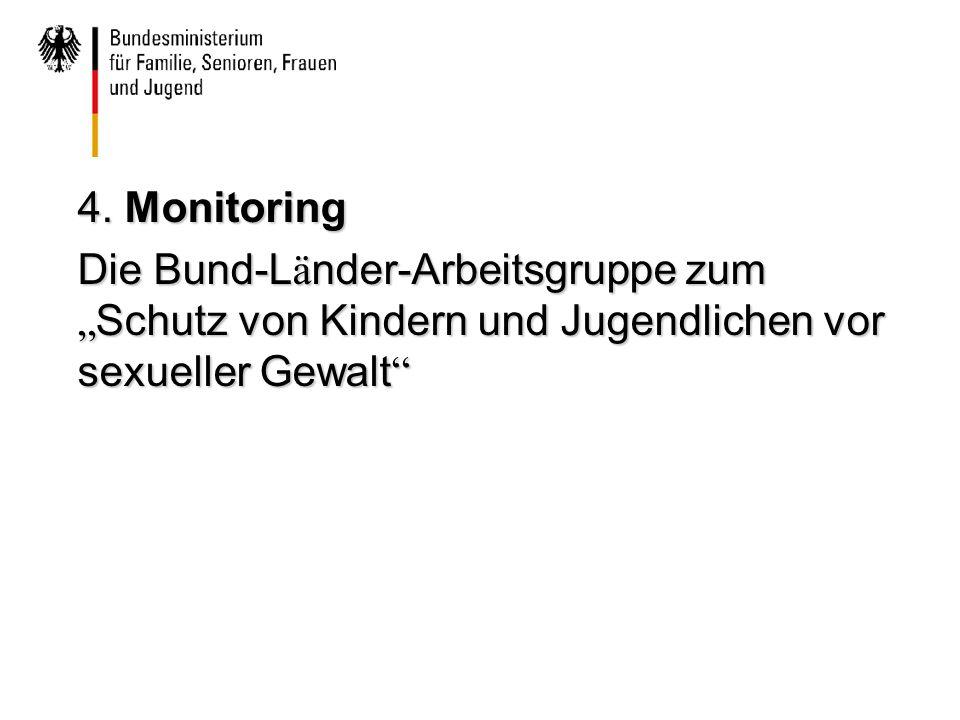 """4. Monitoring Die Bund-L ä nder-Arbeitsgruppe zum """" Schutz von Kindern und Jugendlichen vor sexueller Gewalt """""""