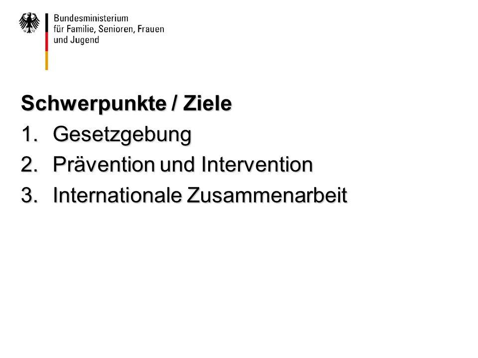 Schwerpunkte / Ziele 1.Gesetzgebung 2.Prävention und Intervention 3.Internationale Zusammenarbeit