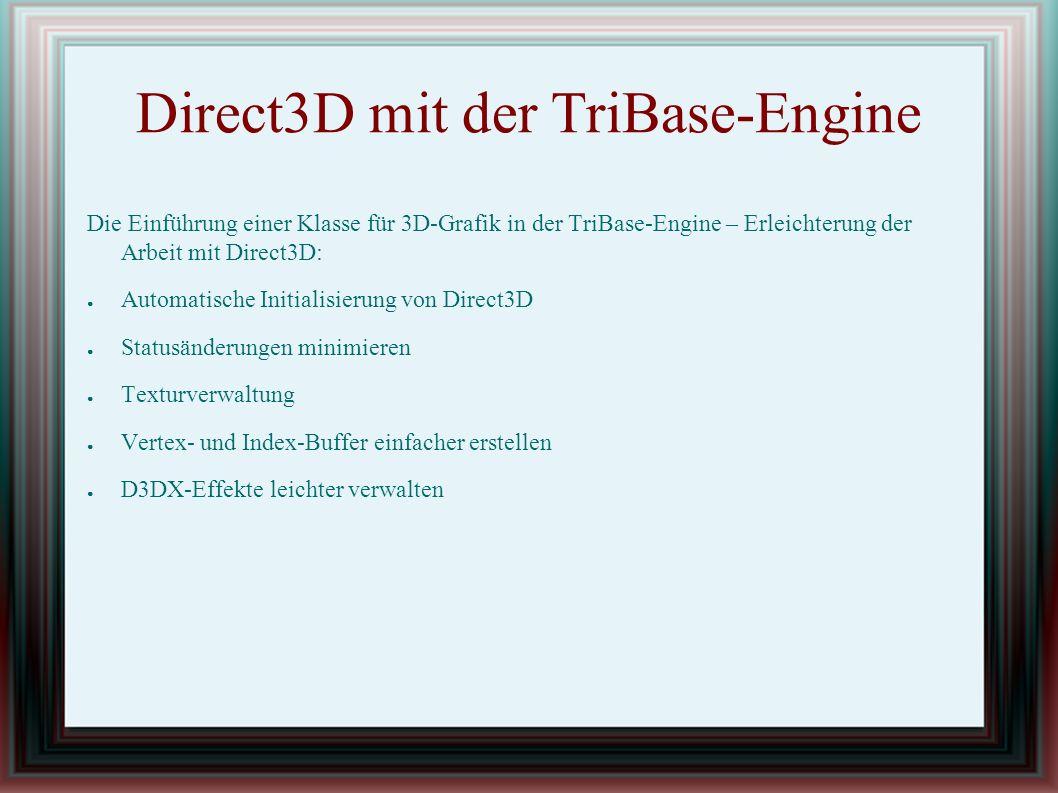 Modelldateien Chunk-Typen Der Indexdaten-Chunk: struct tbModelIndicesChunkHeader { D3DFORMATIndexFormat;// Das Format der Indizes D3DFMT_INDEX16 oder D3DFMT_INDEX32 DWORDdwIndexSize;// Größe eines einzelnen Index DWORDdwNumIndices;// Anzahl der Indizes };