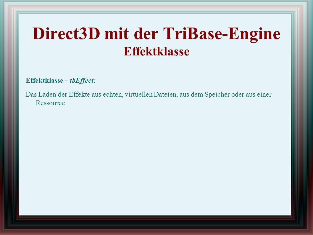 Direct3D mit der TriBase-Engine Effektklasse Effektklasse – tbEffect: Das Laden der Effekte aus echten, virtuellen Dateien, aus dem Speicher oder aus einer Ressource.