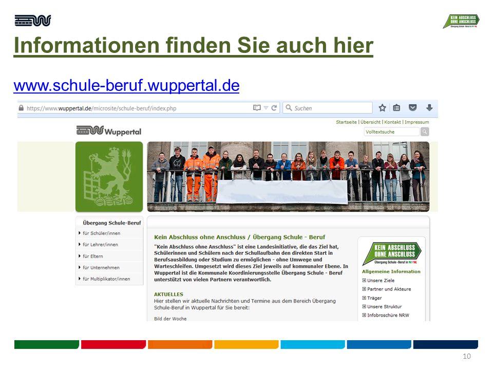 Informationen finden Sie auch hier www.schule-beruf.wuppertal.de 10