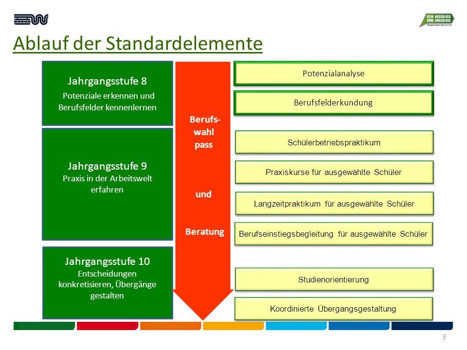 Ablauf der Standardelemente Jahrgangsstufe 8 Potenziale erkennen und Berufsfelder kennenlernen Jahrgangsstufe 9 Praxis in der Arbeitswelt erfahren Jah