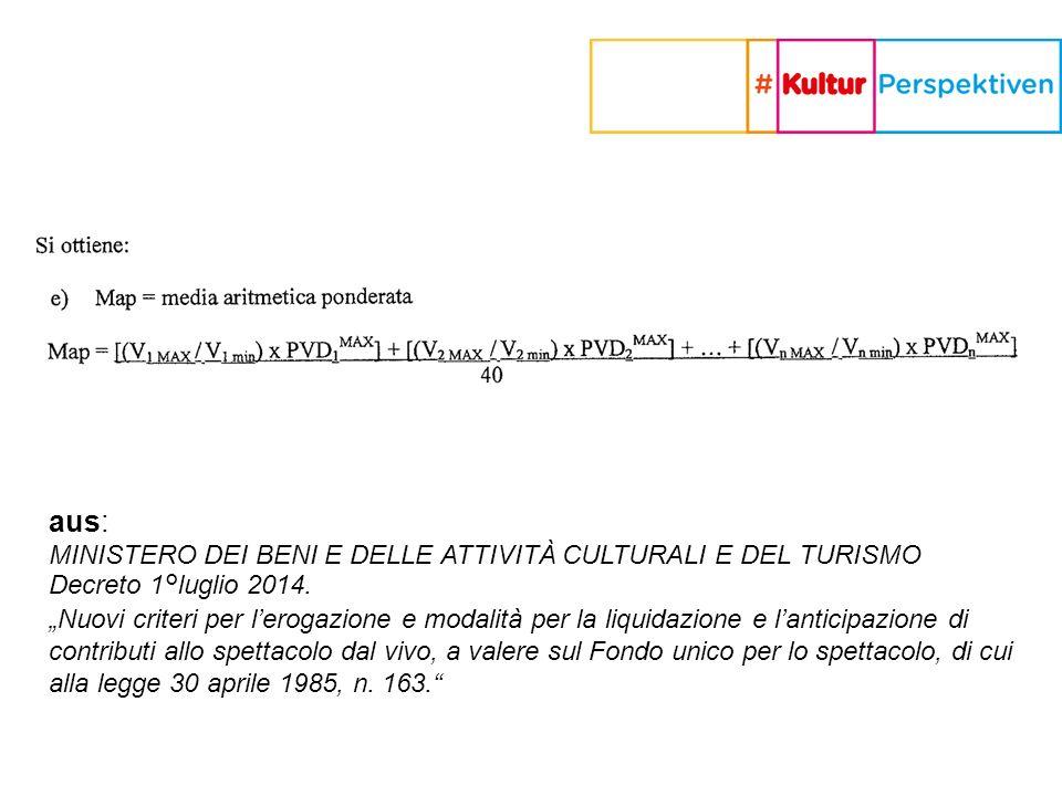aus: MINISTERO DEI BENI E DELLE ATTIVITÀ CULTURALI E DEL TURISMO Decreto 1°luglio 2014.