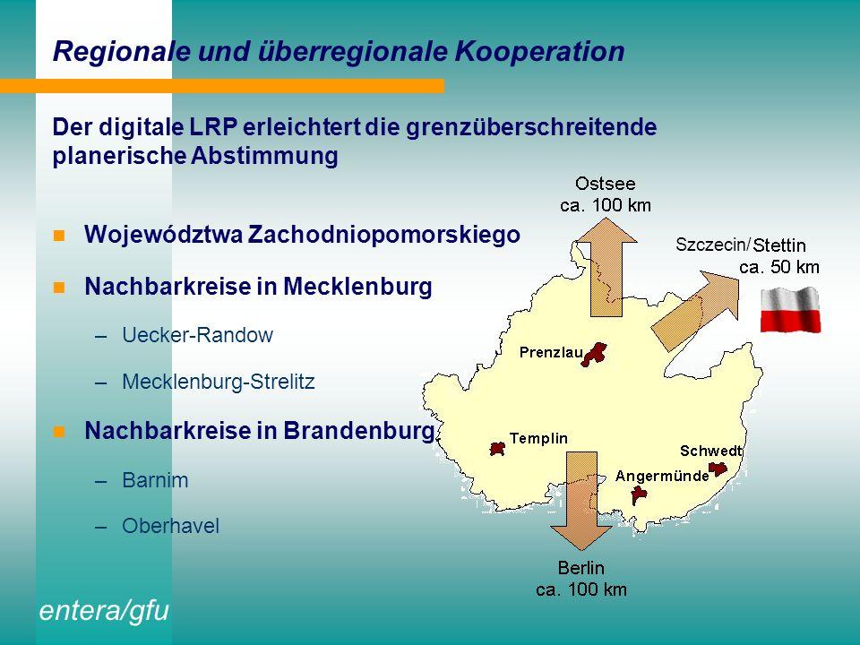 entera/gfu Verfügbarkeit der Projektergebnisse innerhalb der Landkreis-Verwaltung Intranetfähige Aufbereitung mit dem IMS-Mapserver für die regionalen