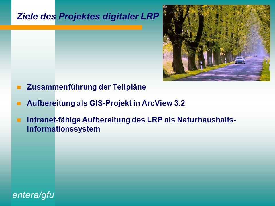 entera/gfu Ziele des Projektes digitaler LRP Zusammenführung der Teilpläne Aufbereitung als GIS-Projekt in ArcView 3.2 Intranet-fähige Aufbereitung des LRP als Naturhaushalts- Informationssystem