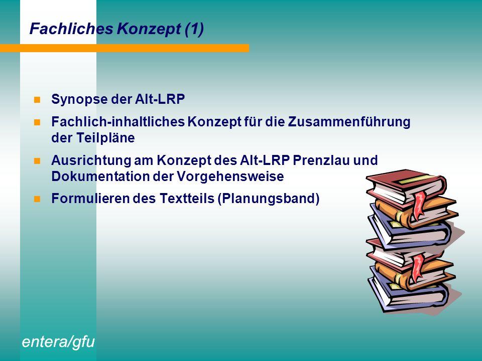 entera/gfu Fachliches Konzept (1) Synopse der Alt-LRP Fachlich-inhaltliches Konzept für die Zusammenführung der Teilpläne Ausrichtung am Konzept des Alt-LRP Prenzlau und Dokumentation der Vorgehensweise Formulieren des Textteils (Planungsband)
