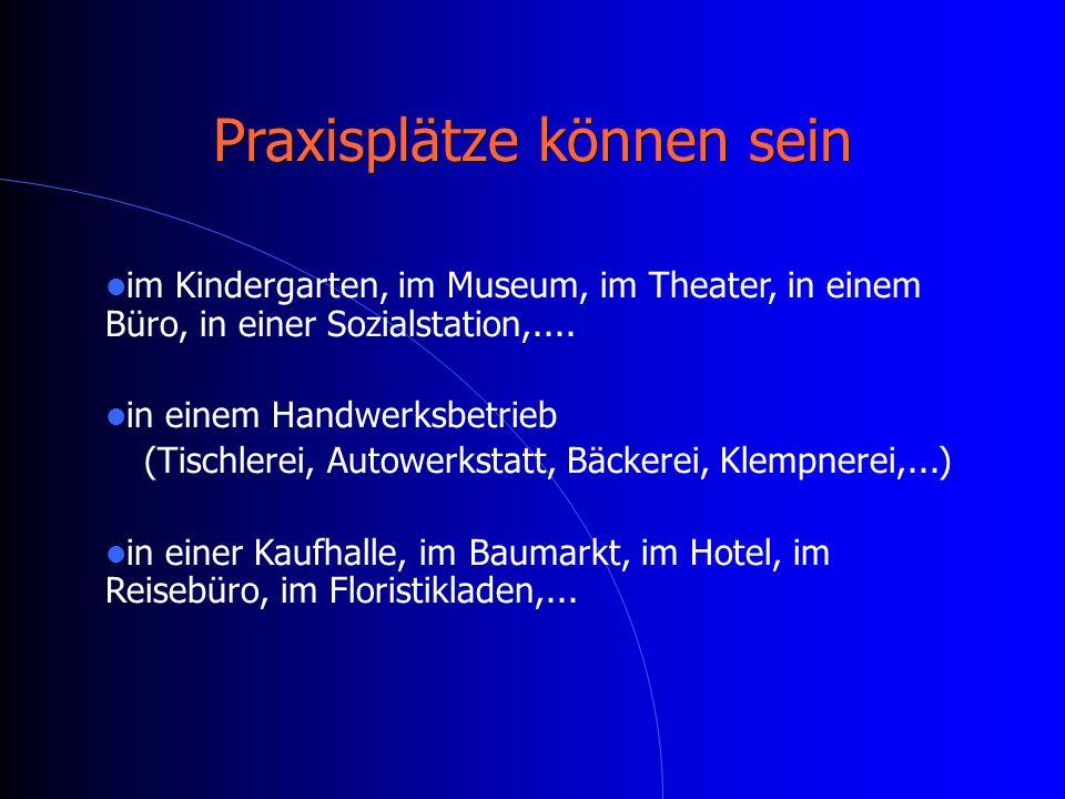 Praxisplätze können sein im Kindergarten, im Museum, im Theater, in einem Büro, in einer Sozialstation,....