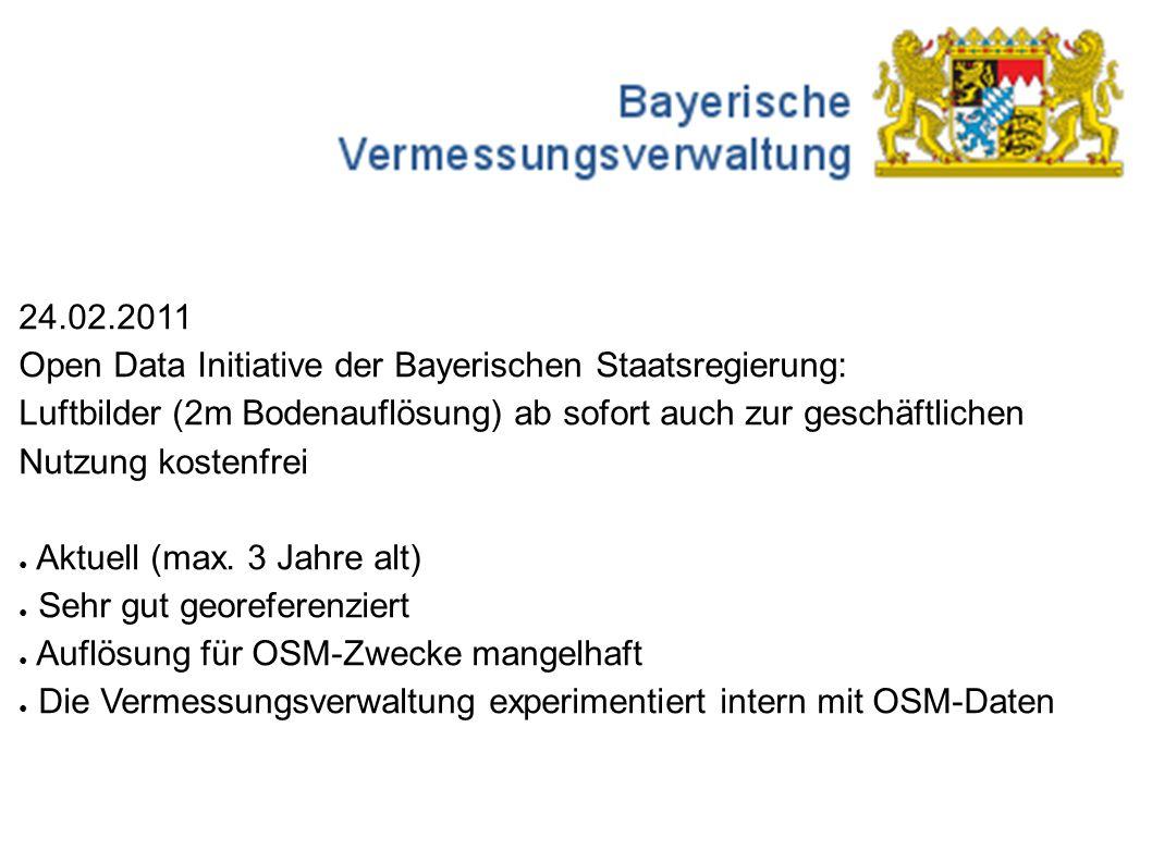 24.02.2011 Open Data Initiative der Bayerischen Staatsregierung: Luftbilder (2m Bodenauflösung) ab sofort auch zur geschäftlichen Nutzung kostenfrei ● Aktuell (max.