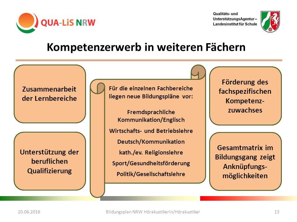 Kompetenzerwerb in weiteren Fächern Für die einzelnen Fachbereiche liegen neue Bildungspläne vor: Fremdsprachliche Kommunikation/Englisch Wirtschafts- und Betriebslehre Deutsch/Kommunikation kath./ev.