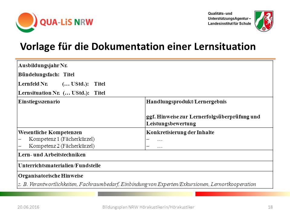 20.06.2016Bildungsplan NRW Hörakustikerin/Hörakustiker18 Ausbildungsjahr Nr.