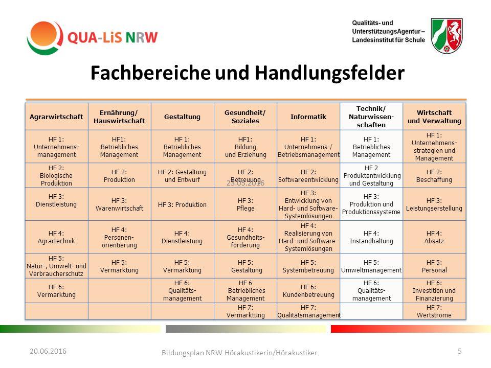 20.06.2016 Bildungsplan NRW Hörakustikerin/Hörakustiker 5 Fachbereiche und Handlungsfelder